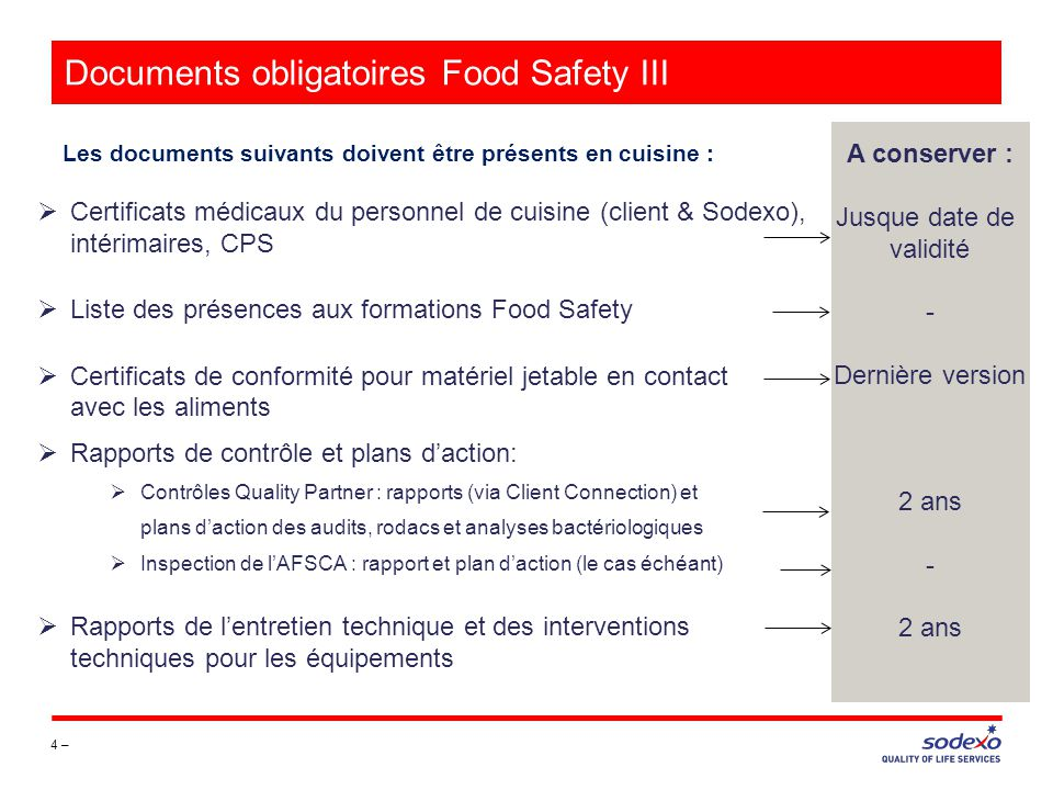 Documents obligatoires Food Safety III