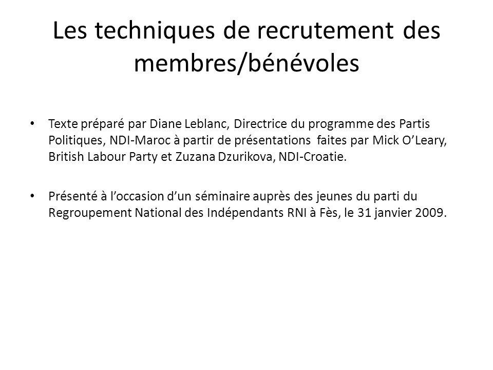 Les techniques de recrutement des membres/bénévoles