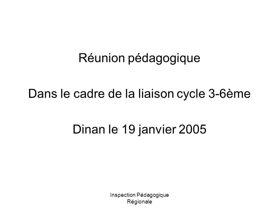 Dans le cadre de la liaison cycle 3-6ème Dinan le 19 janvier 2005