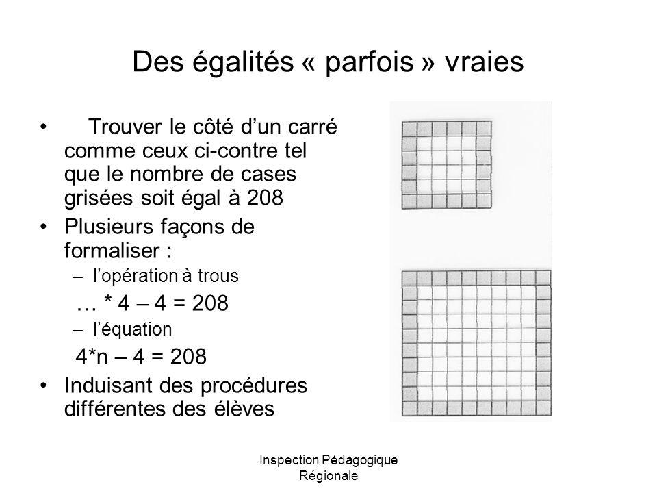 Des égalités « parfois » vraies
