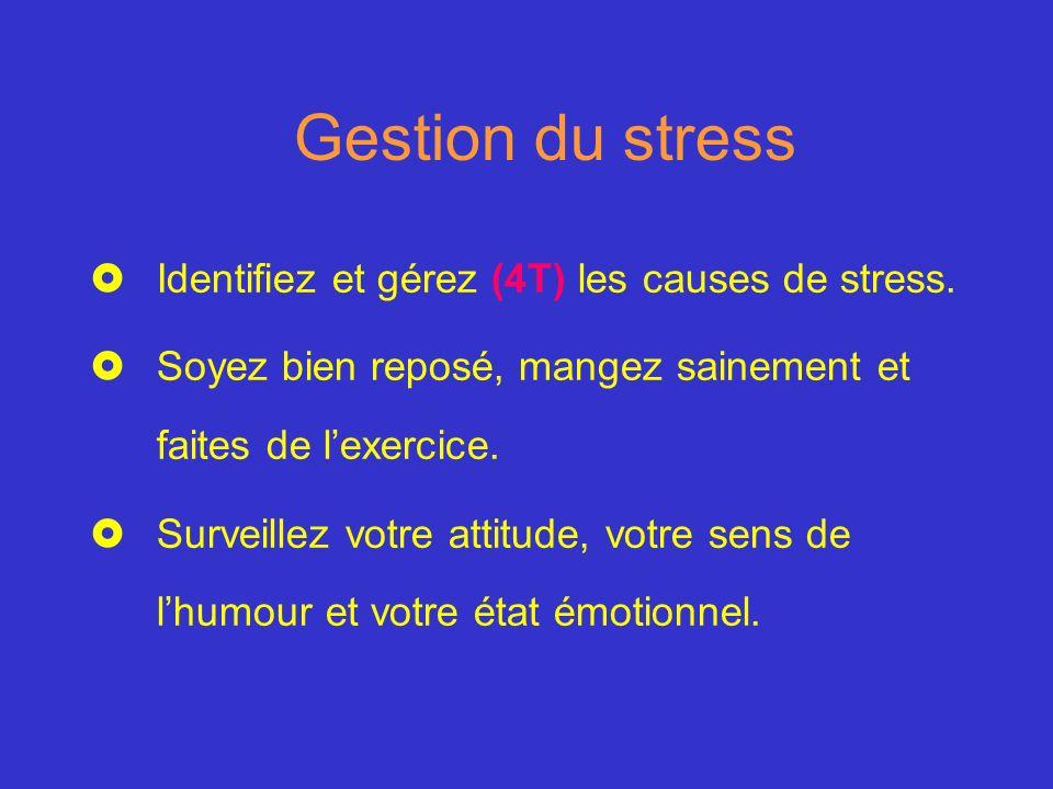 Gestion du stress Identifiez et gérez (4T) les causes de stress.