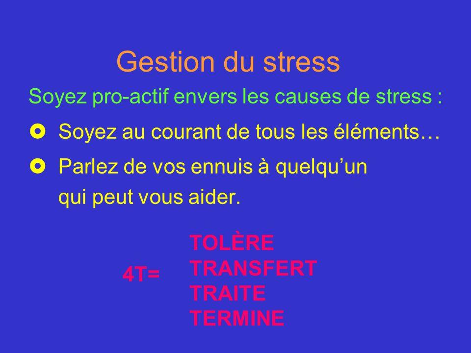 Gestion du stress Soyez pro-actif envers les causes de stress :