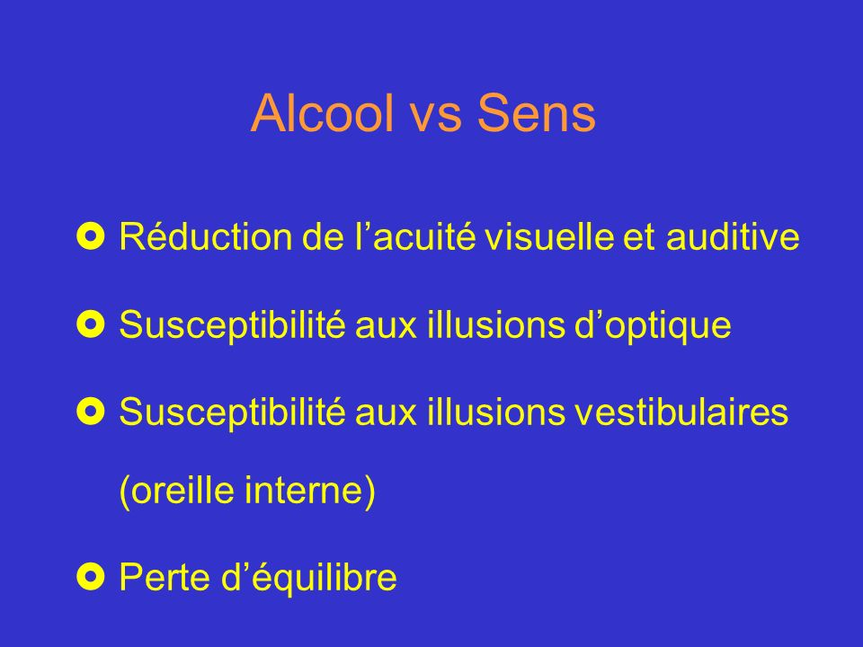 Alcool vs Sens Réduction de l'acuité visuelle et auditive