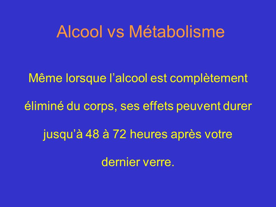 Alcool vs Métabolisme