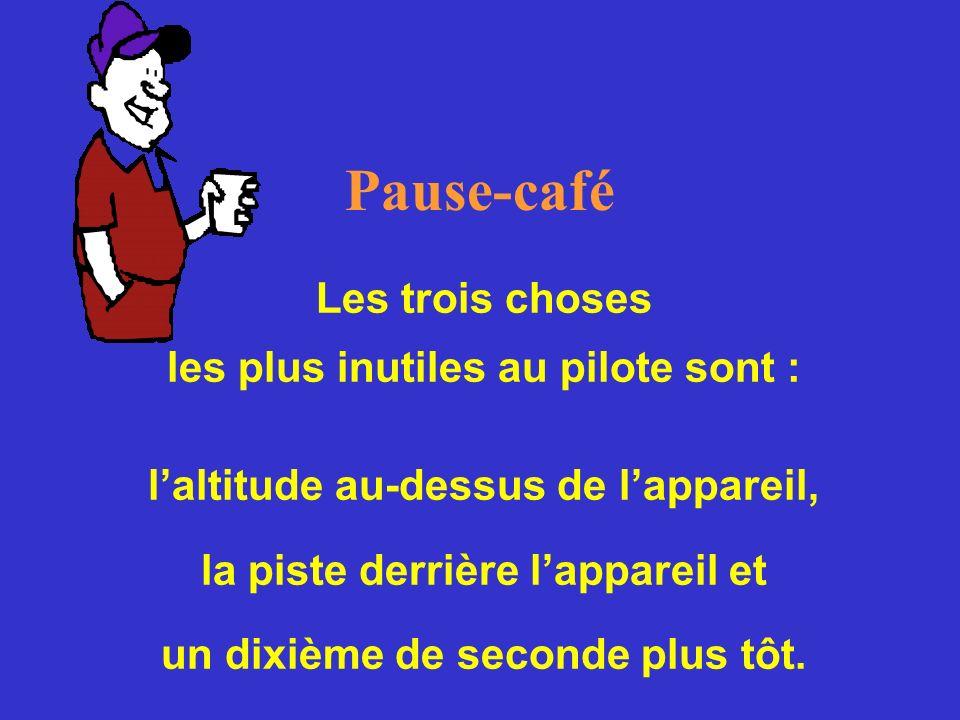 Pause-café Les trois choses les plus inutiles au pilote sont :