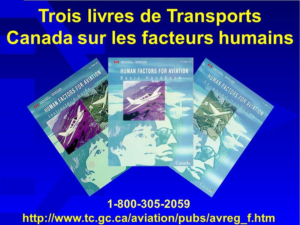 Trois livres de Transports Canada sur les facteurs humains