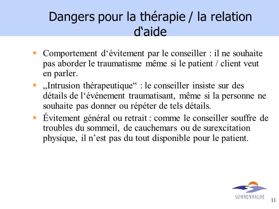 Dangers pour la thérapie / la relation d'aide
