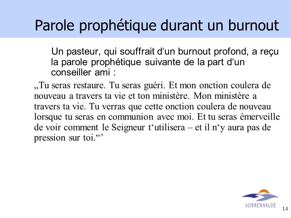 Parole prophétique durant un burnout