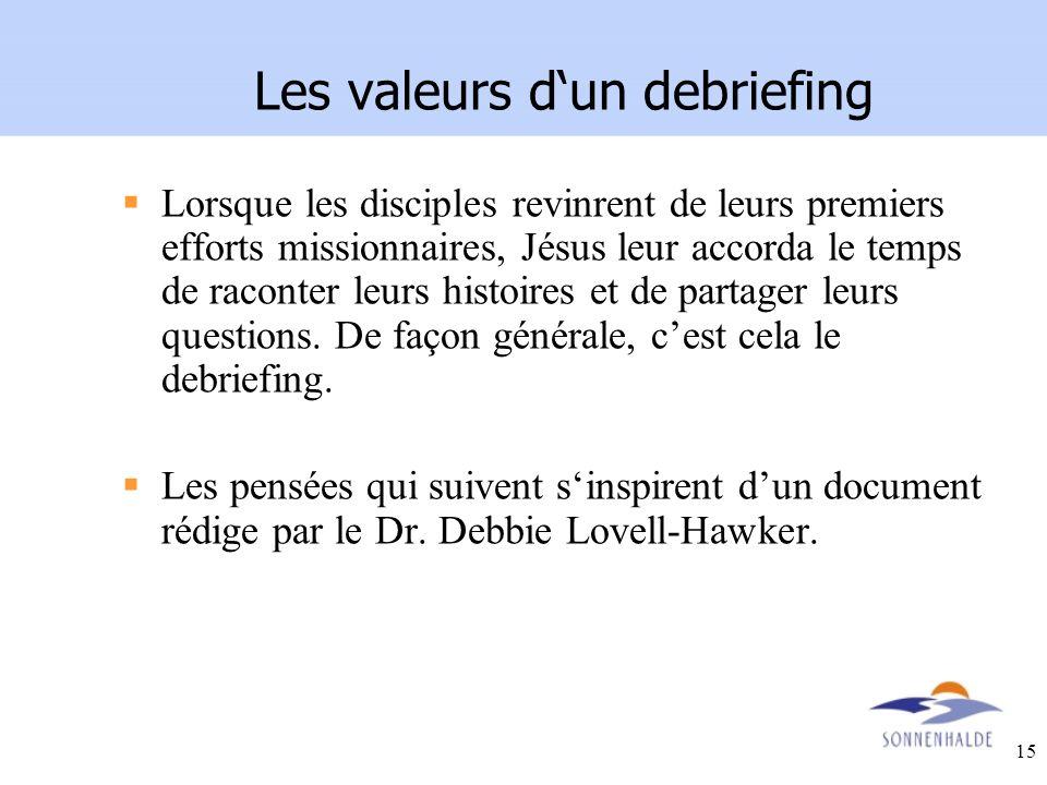 Les valeurs d'un debriefing