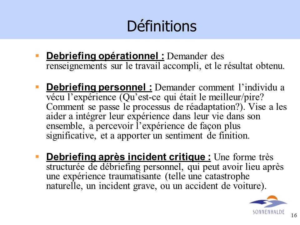 Définitions Debriefing opérationnel : Demander des renseignements sur le travail accompli, et le résultat obtenu.