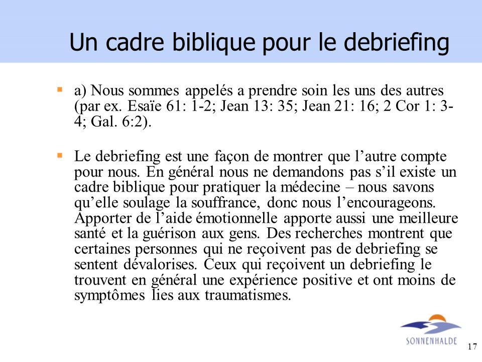 Un cadre biblique pour le debriefing