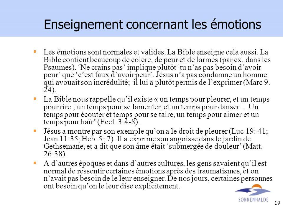 Enseignement concernant les émotions