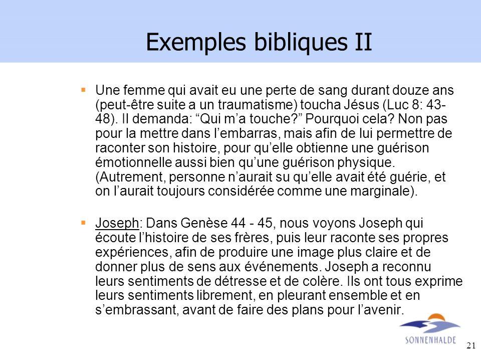 Exemples bibliques II