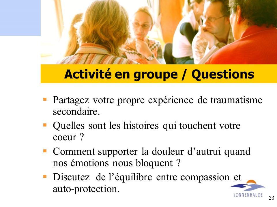 Activité en groupe / Questions