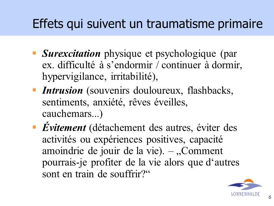 Effets qui suivent un traumatisme primaire