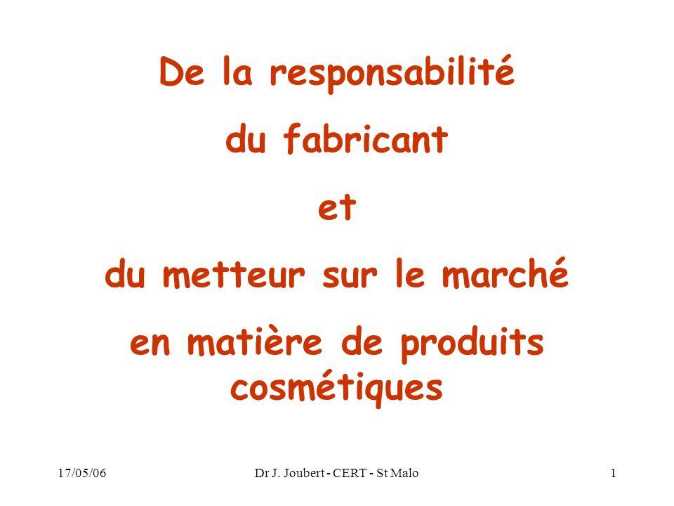 du metteur sur le marché en matière de produits cosmétiques