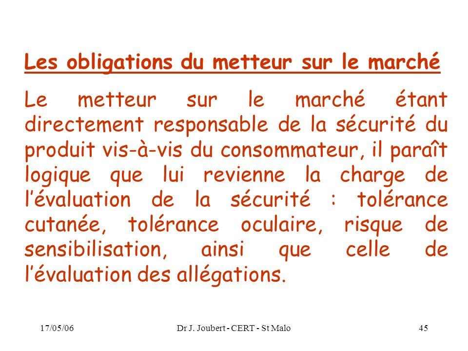 Dr J. Joubert - CERT - St Malo
