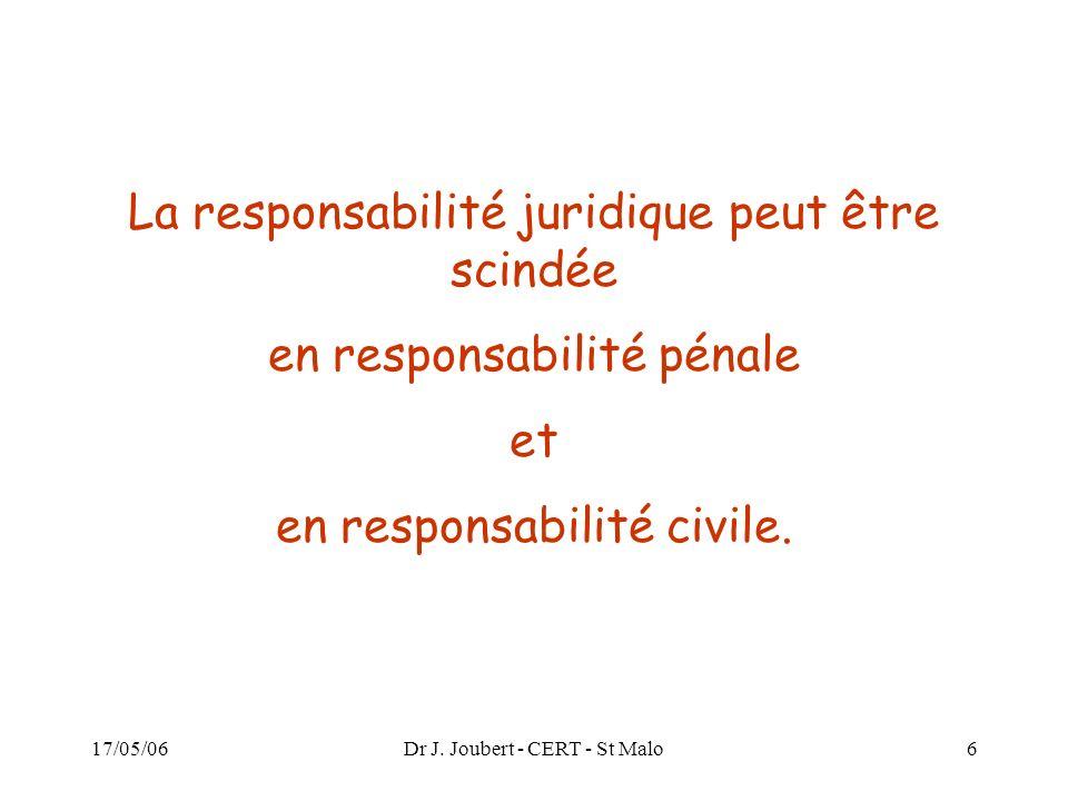 La responsabilité juridique peut être scindée en responsabilité pénale