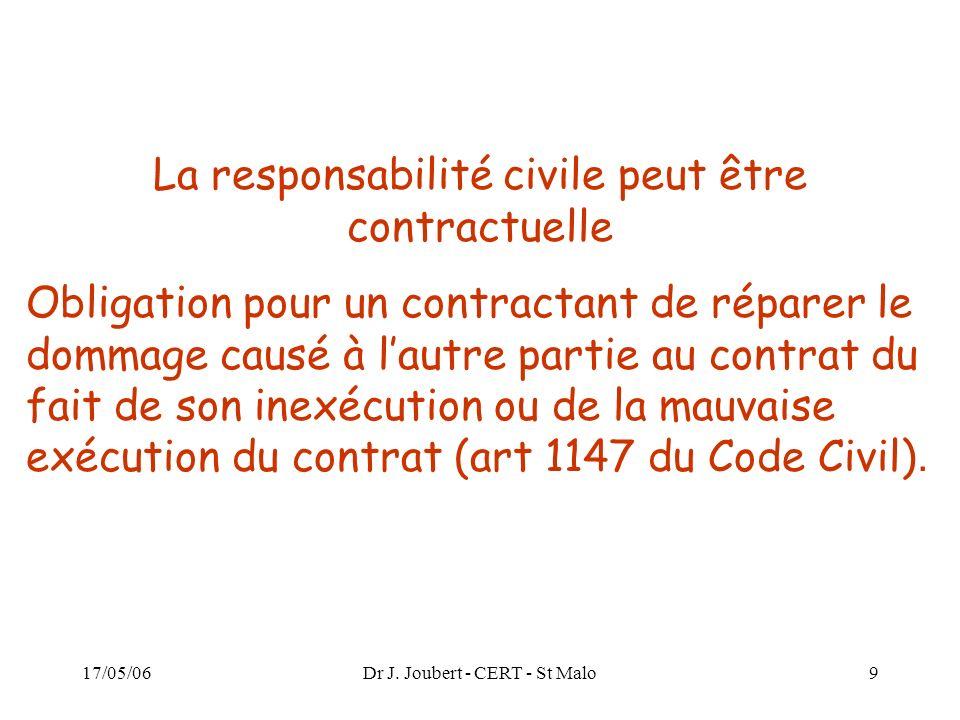 La responsabilité civile peut être contractuelle
