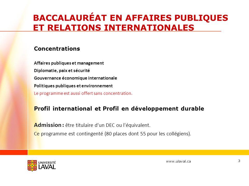 BACCALAURÉAT EN AFFAIRES PUBLIQUES ET RELATIONS INTERNATIONALES