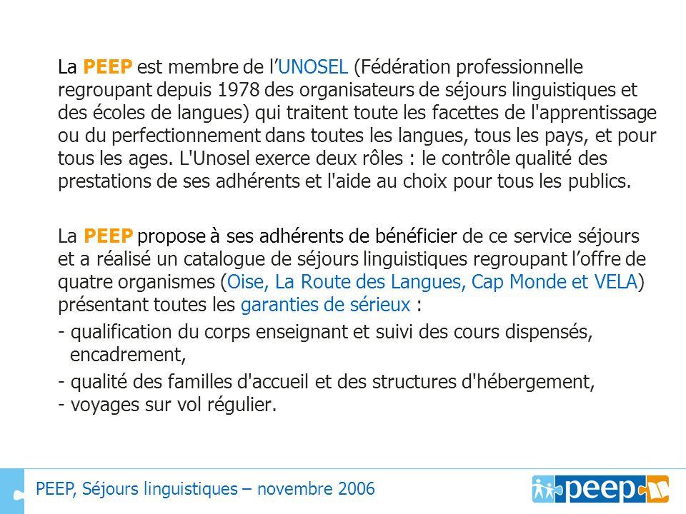 La PEEP est membre de l'UNOSEL (Fédération professionnelle regroupant depuis 1978 des organisateurs de séjours linguistiques et des écoles de langues) qui traitent toute les facettes de l apprentissage ou du perfectionnement dans toutes les langues, tous les pays, et pour tous les ages. L Unosel exerce deux rôles : le contrôle qualité des prestations de ses adhérents et l aide au choix pour tous les publics.