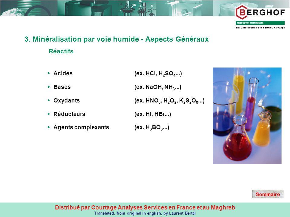 3. Minéralisation par voie humide - Aspects Généraux