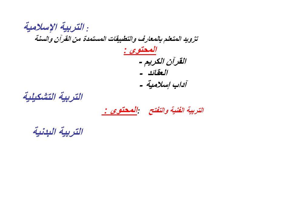 التربية التشكيلية - القرآن الكريم -العقائد -آداب إسلامية