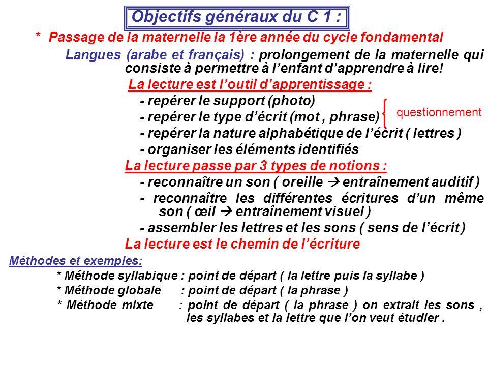 Objectifs généraux du C 1 :