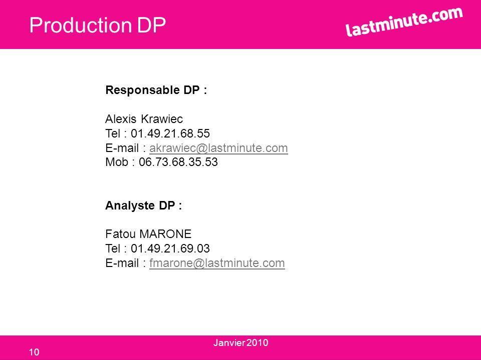 Production DP Responsable DP : Alexis Krawiec Tel : 01.49.21.68.55