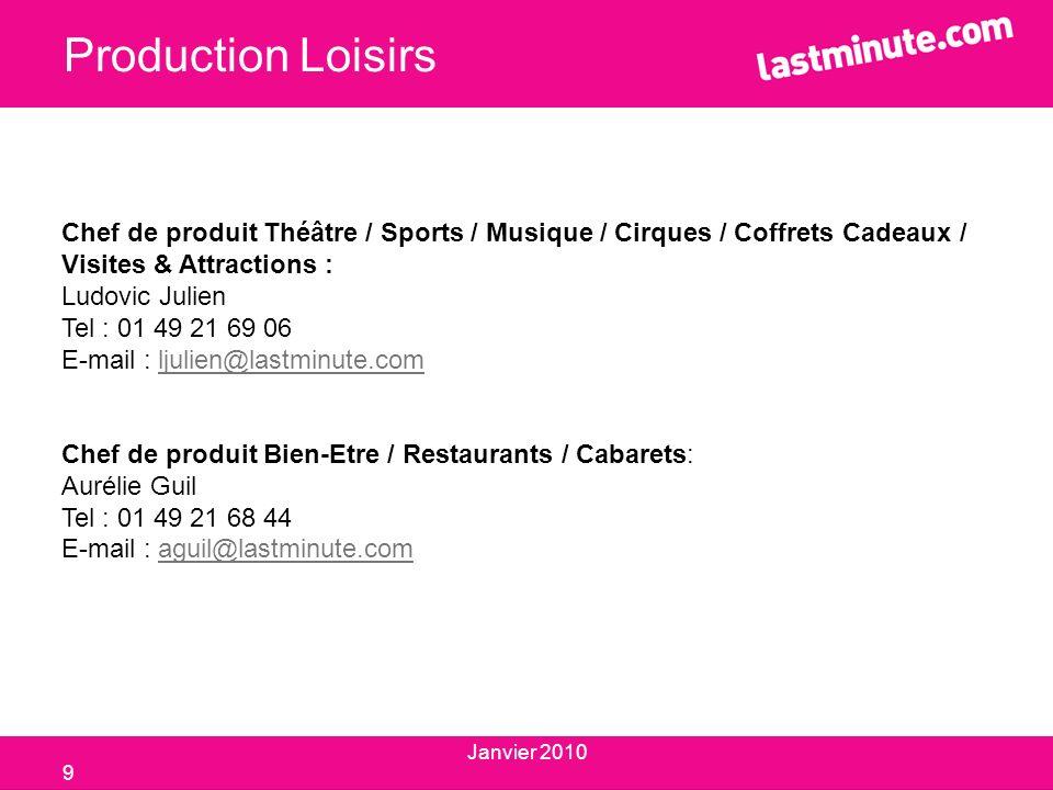 Production Loisirs Chef de produit Théâtre / Sports / Musique / Cirques / Coffrets Cadeaux / Visites & Attractions :