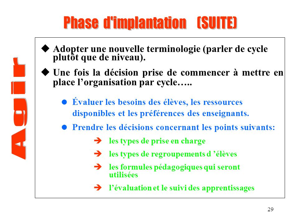 Phase d implantation (SUITE)
