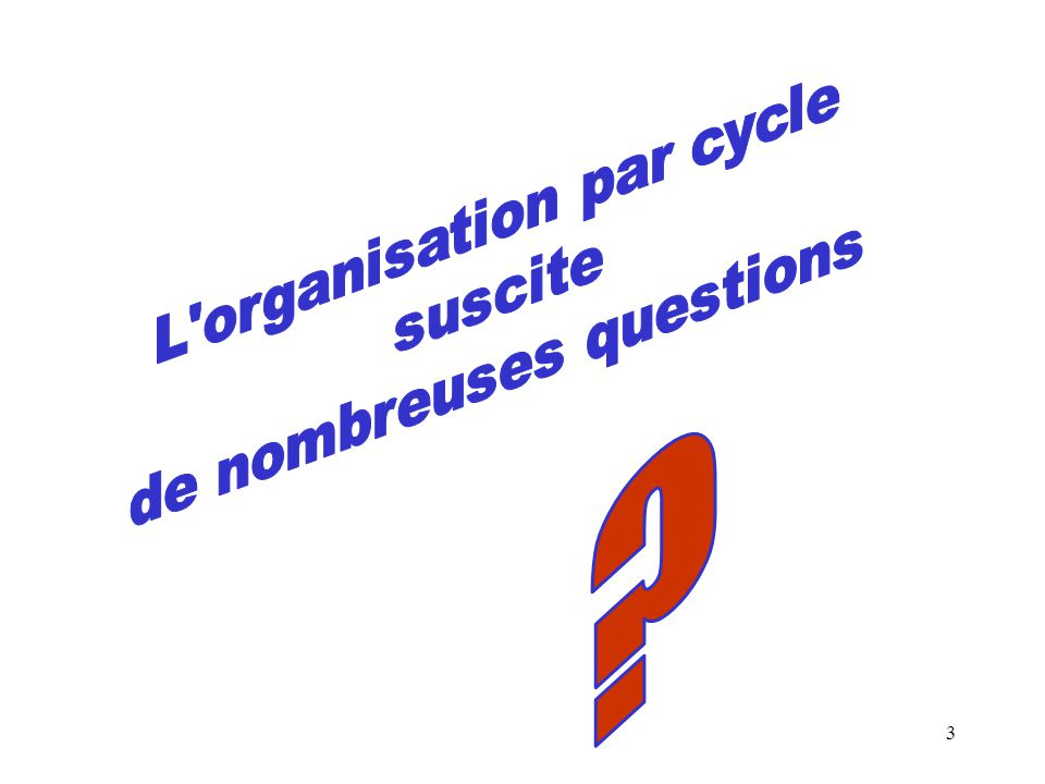 L organisation par cycle