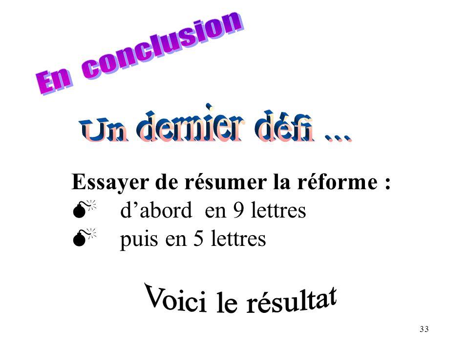 En conclusion Un dernier défi ... Essayer de résumer la réforme : d'abord en 9 lettres. puis en 5 lettres.