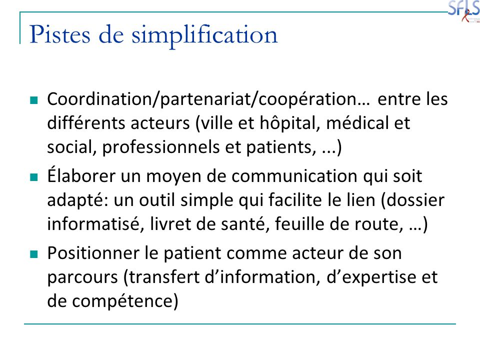 Pistes de simplification