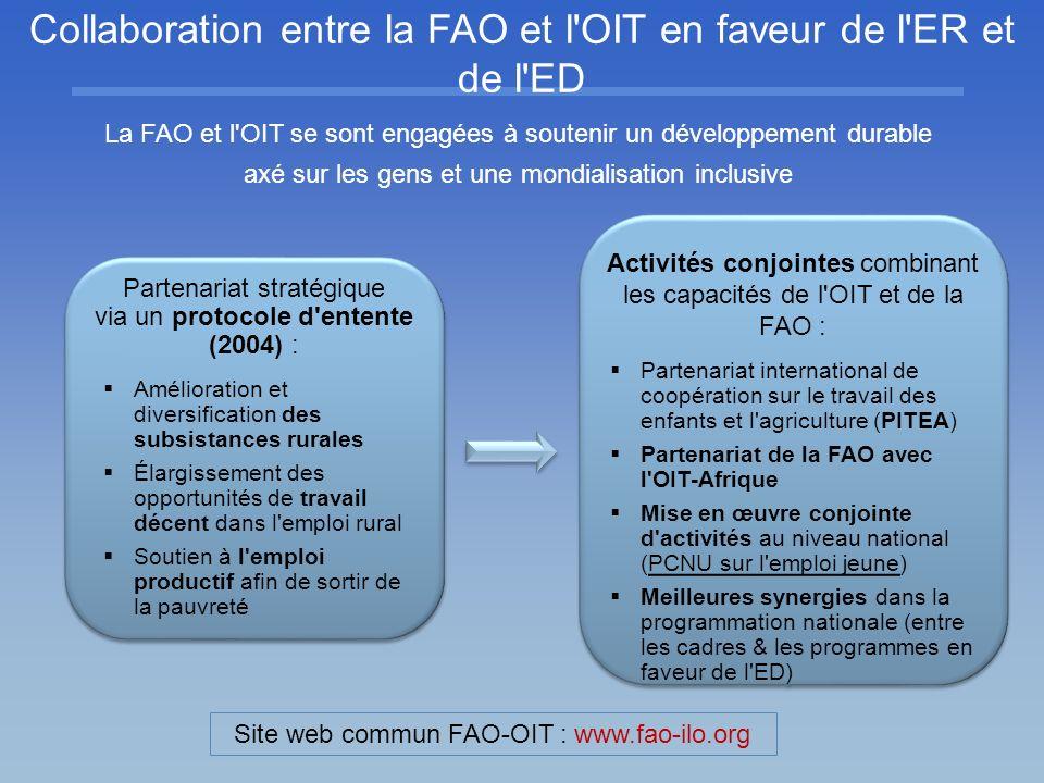 Collaboration entre la FAO et l OIT en faveur de l ER et de l ED