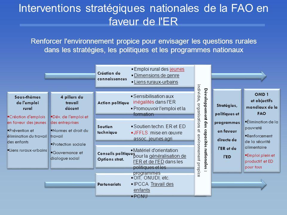 Interventions stratégiques nationales de la FAO en faveur de l ER