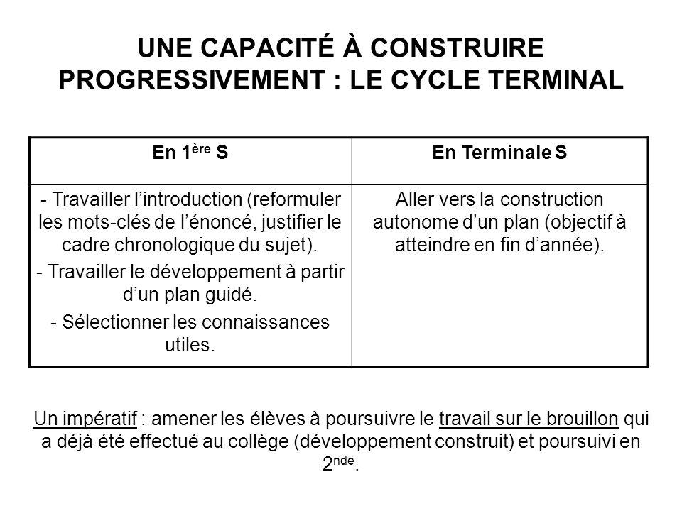 UNE CAPACITÉ À CONSTRUIRE PROGRESSIVEMENT : LE CYCLE TERMINAL