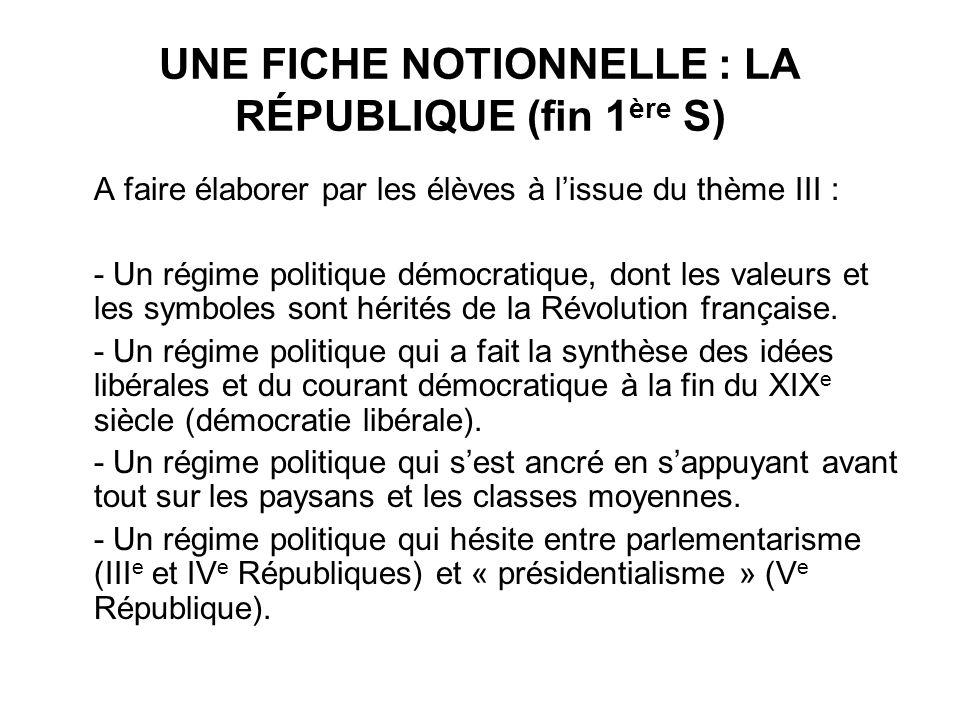 UNE FICHE NOTIONNELLE : LA RÉPUBLIQUE (fin 1ère S)