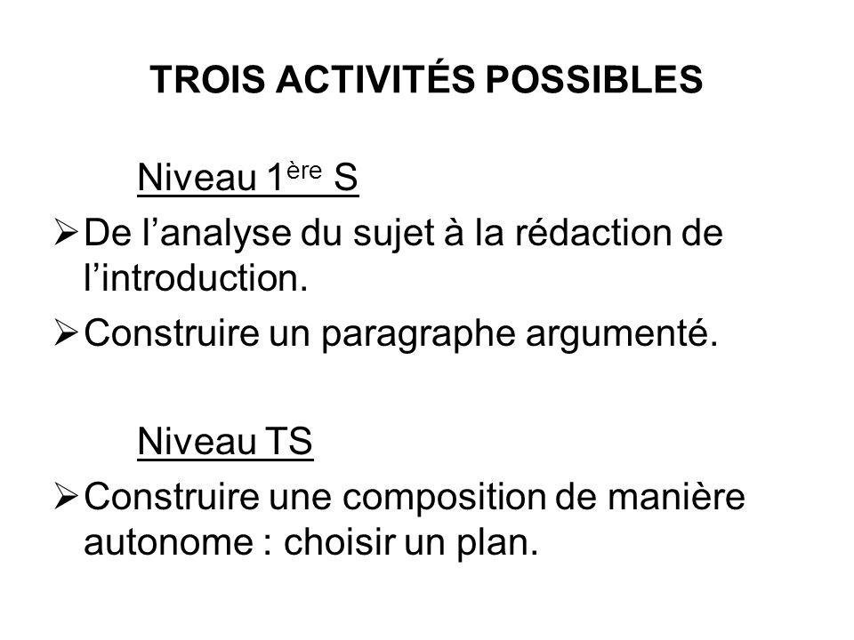 TROIS ACTIVITÉS POSSIBLES