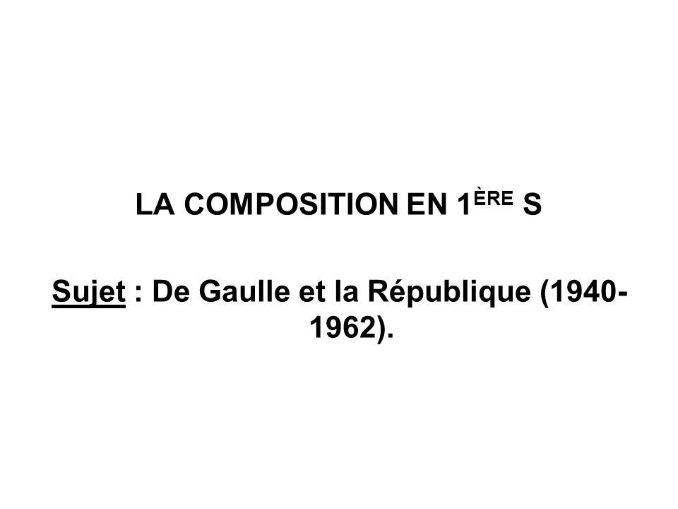 Sujet : De Gaulle et la République (1940-1962).