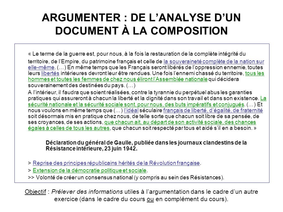ARGUMENTER : DE L'ANALYSE D'UN DOCUMENT À LA COMPOSITION
