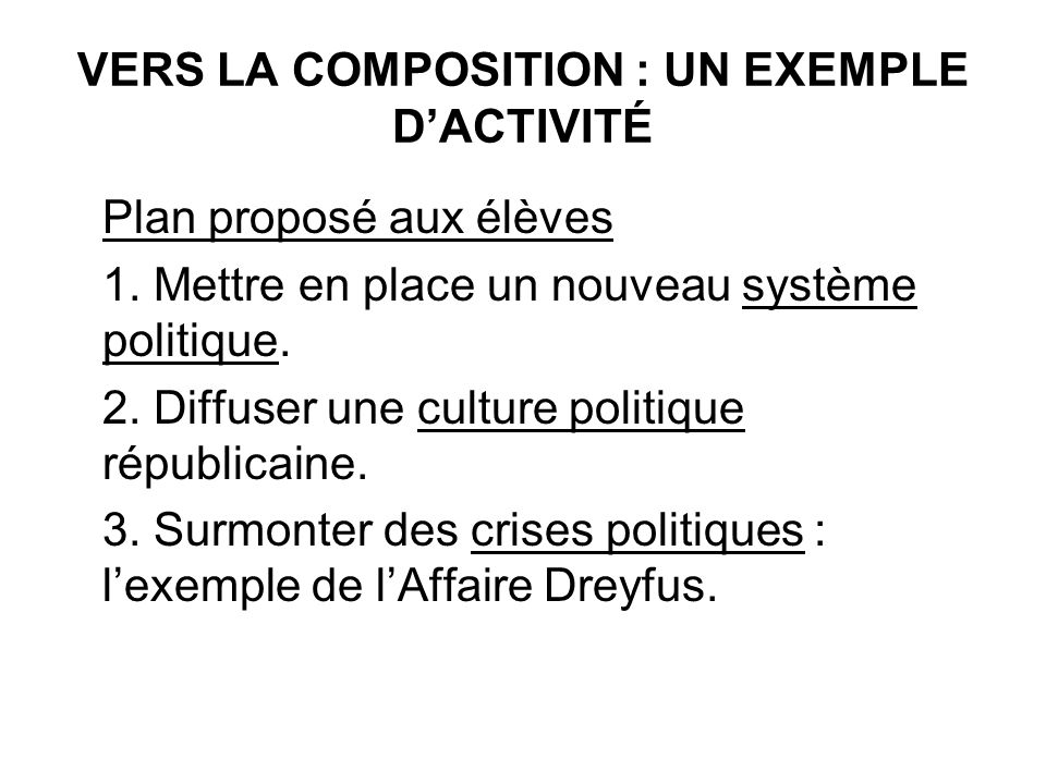 VERS LA COMPOSITION : UN EXEMPLE D'ACTIVITÉ
