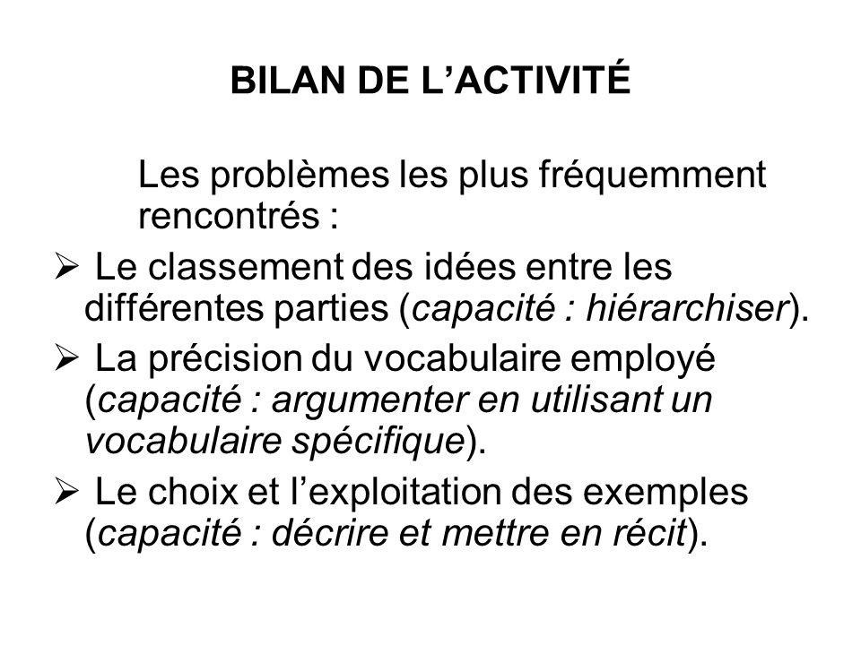 BILAN DE L'ACTIVITÉ Les problèmes les plus fréquemment rencontrés :