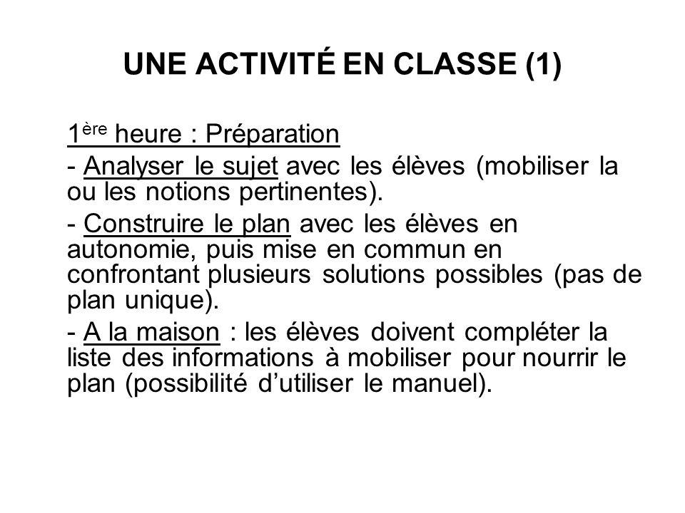 UNE ACTIVITÉ EN CLASSE (1)