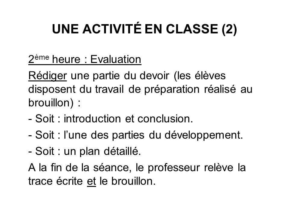 UNE ACTIVITÉ EN CLASSE (2)