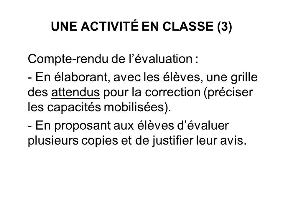 UNE ACTIVITÉ EN CLASSE (3)