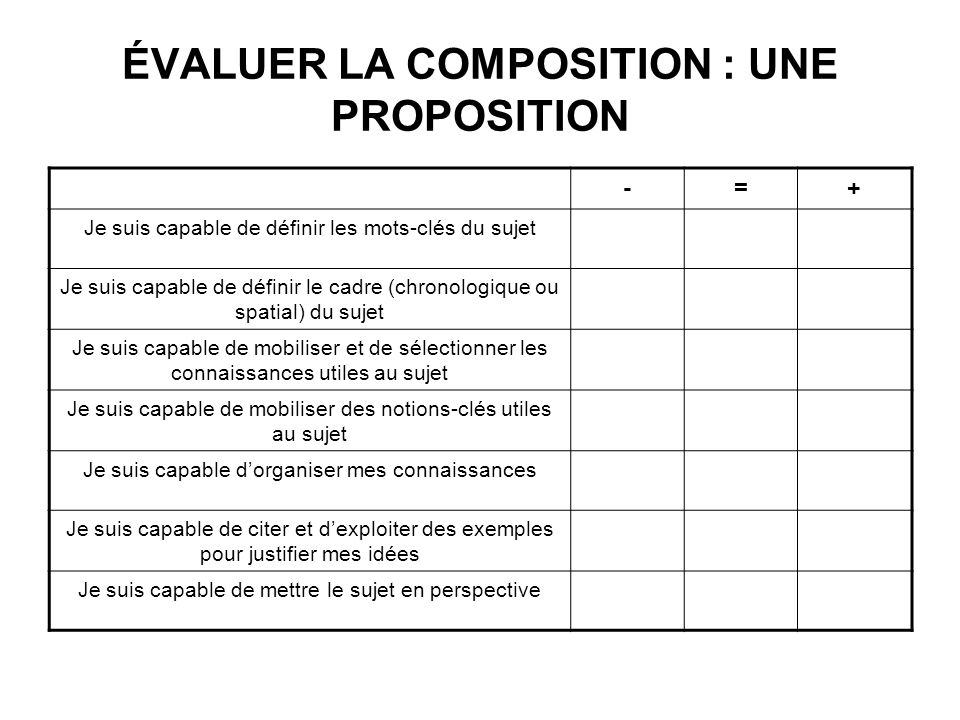 ÉVALUER LA COMPOSITION : UNE PROPOSITION