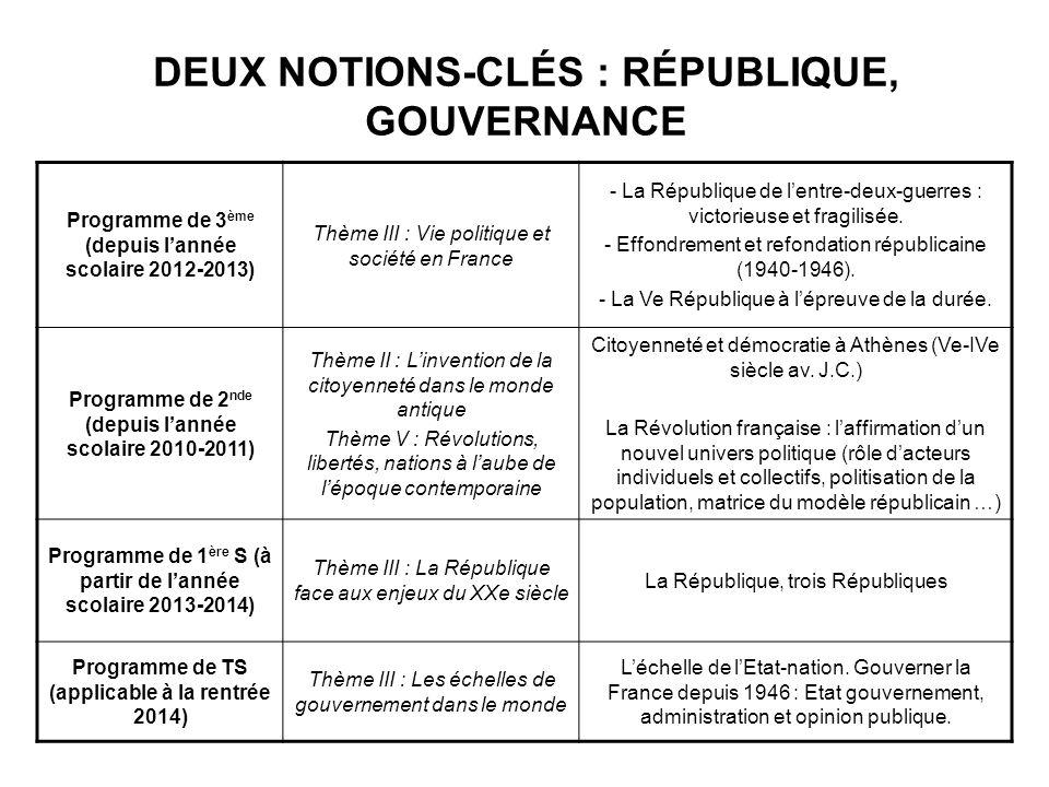 DEUX NOTIONS-CLÉS : RÉPUBLIQUE, GOUVERNANCE