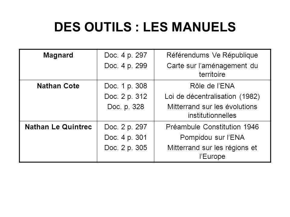 DES OUTILS : LES MANUELS