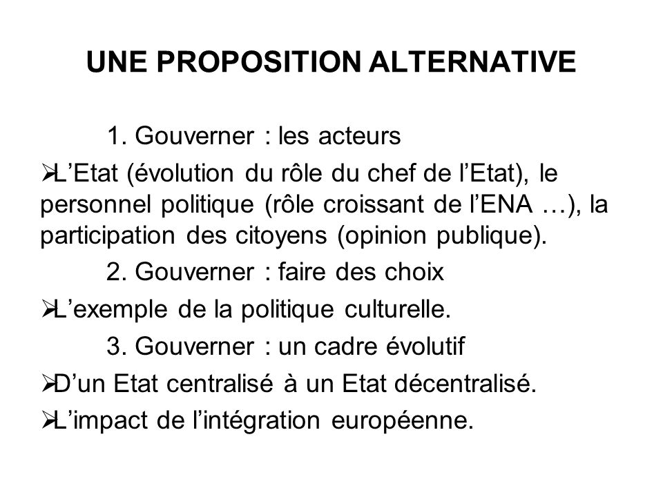 UNE PROPOSITION ALTERNATIVE